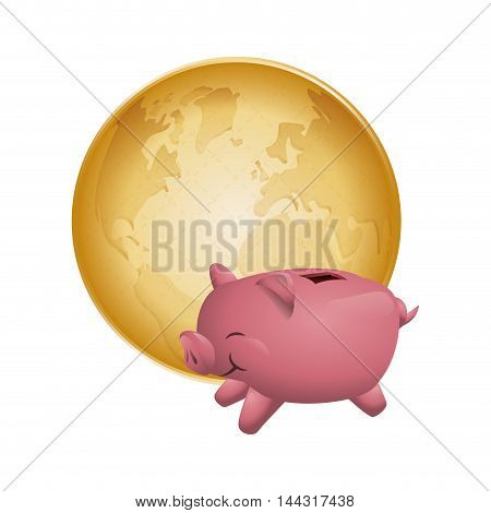 piggy planet money financial item commerce market icon. Flat and Isolated design. Vector illustration