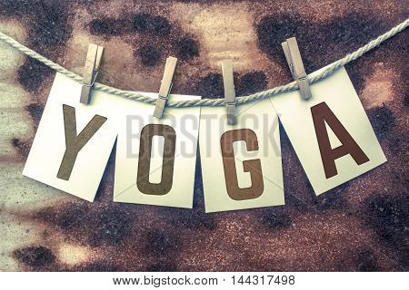 Yoga Concept Pinned Stamped Cards On Twine Theme