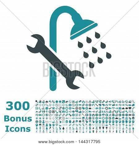 Shower Plumbing icon with 300 bonus icons. Vector illustration style is flat iconic bicolor symbols, soft blue colors, white background.