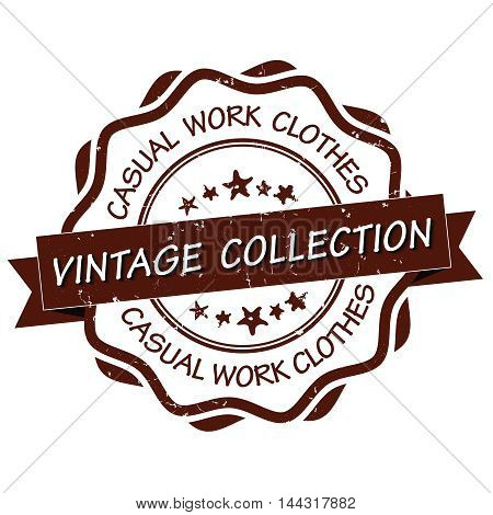 Vintage collection, Casual work clothes - printable grunge stick / label. Print colors used