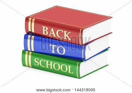 back to school concept with books 3D rendering