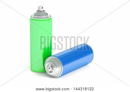 colored spray paint cans 3D rendering isolated on white background