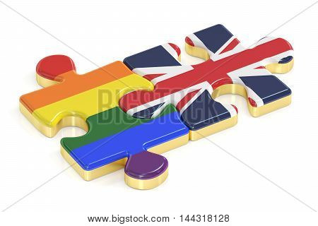 Gay Pride Rainbow and EK puzzles from flags 3D rendering