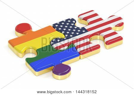 Gay Pride Rainbow and USA puzzles from flags 3D rendering