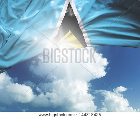 Saint Lucia flag on a beautiful day