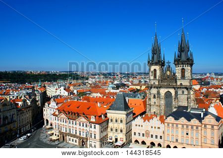 Cityscape of Prague with tyn church Czech
