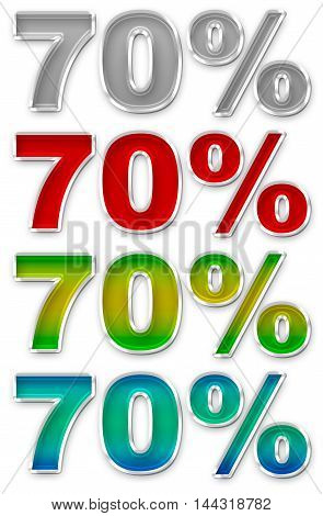 A illustration of Percent 70 colorful icons symbols set JPEG