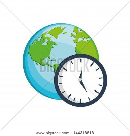 clock earth planet world time  icon. Flat and Isolated design. Vector illustration