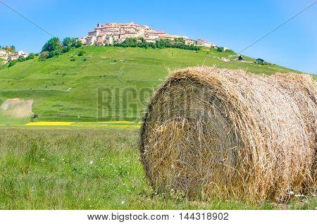haystack hay bale Castelluccio di Norcia Monti Sibillini Perugia Umbria Italy