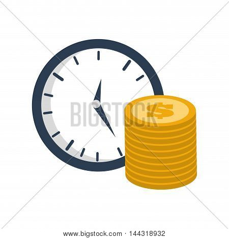 coins clock money financial item commerce market icon. Flat and Isolated design. Vector illustration