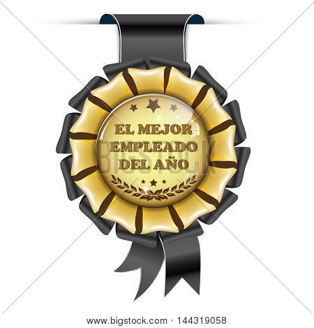 The best Employee of the Year (Spanish text: El mejor empleado del ano) - shiny award ribbon.