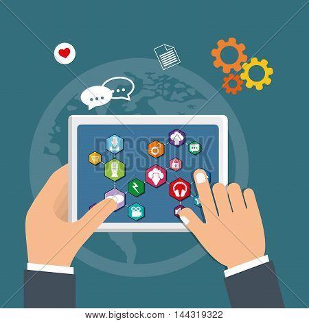 smartphone boy social media technology digital app icon set. Flat illustration. Vector illustration