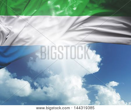 Sierra Leone flag on a beautiful day