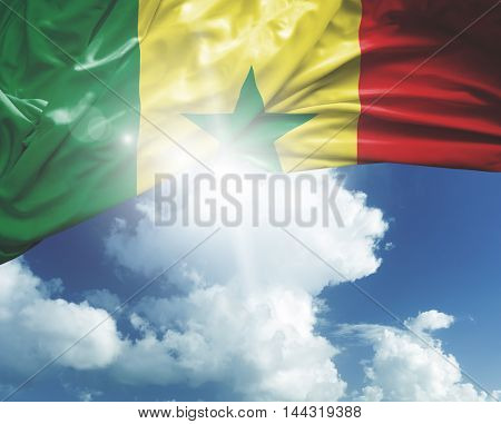 Senegal flag on a beautiful day