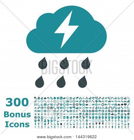Thunderstorm icon with 300 bonus icons. Vector illustration style is flat iconic bicolor symbols, soft blue colors, white background.