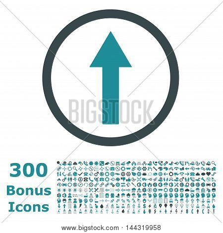Up Rounded Arrow icon with 300 bonus icons. Vector illustration style is flat iconic bicolor symbols, soft blue colors, white background.