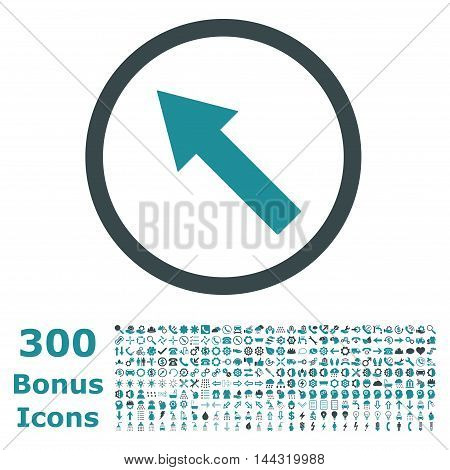 Up-Left Rounded Arrow icon with 300 bonus icons. Vector illustration style is flat iconic bicolor symbols, soft blue colors, white background.