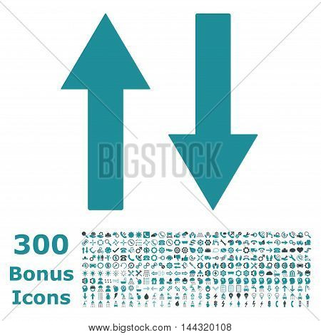 Vertical Flip Arrows icon with 300 bonus icons. Vector illustration style is flat iconic bicolor symbols, soft blue colors, white background.