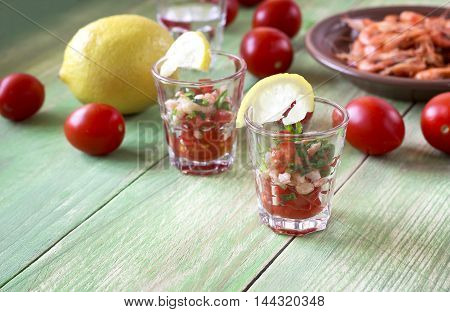 Appetizer With Shrimp In Small Glasses