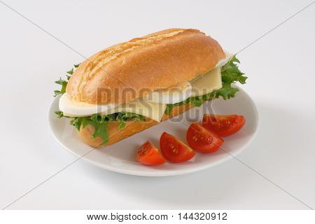 sandwich with eggs and cheese on white plate