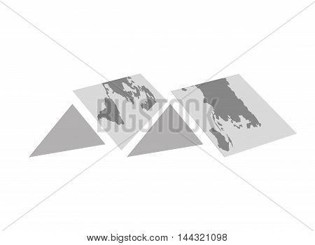 map travel trip tourism icon. Flat and isolated design. Vector illustration