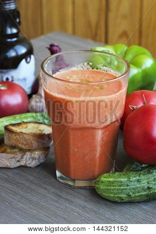 Gazpacho Tomato Soup And Ingredients