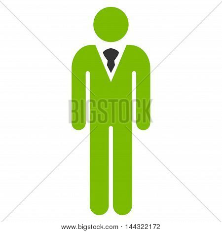 Guy icon. Glyph style is bicolor flat iconic symbol with rounded angles, eco green and gray colors, white background.