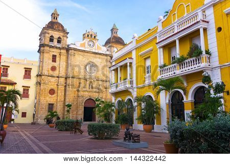 View of colonial architecture and San Pedro Claver church in Cartagena Colombia