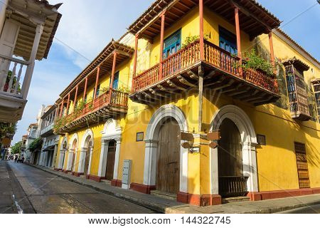 Yellow colonial street corner in Cartagena Colombia