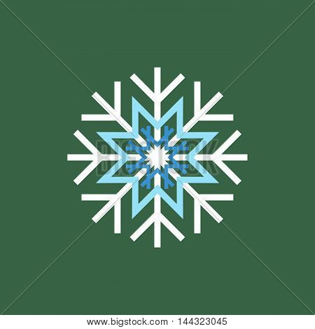 White blue winter snowflake on green background. End of year christmas and sale season.
