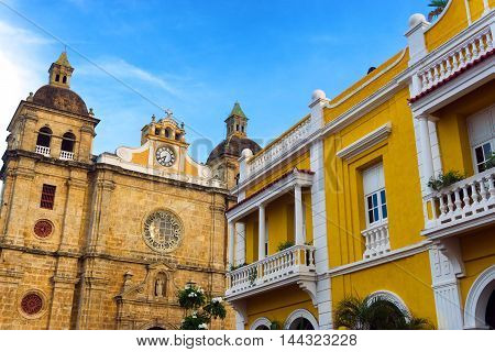 View of the beautiful San Pedro Claver church in Cartagena Colombia