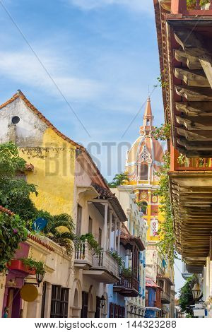 Vertical view of colorful colonial architecture and the cathedral in Cartagena Colombia