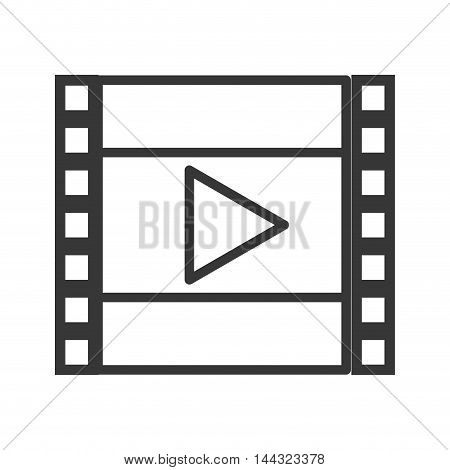 play movie film strip cinema icon. Flat and isolated design. Vector illustration