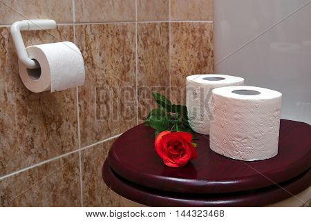 Two rolls of white toilet paper with red rose on a wooden toilet seat