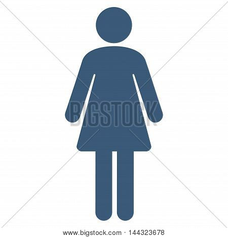Female icon. Glyph style is flat iconic symbol with rounded angles, blue color, white background.