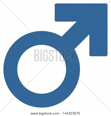 Male Symbol icon. Glyph style is flat iconic symbol with rounded angles, cobalt color, white background.