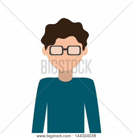 man male avatar glasses hair nerd icon. Flat and isolated design. Vector illustration