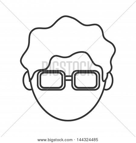man male head avatar glasses hair nerd icon. Flat and isolated design. Vector illustration