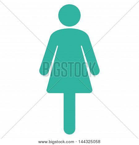 Woman icon. Glyph style is flat iconic symbol with rounded angles, cyan color, white background.
