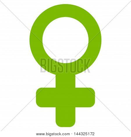 Female Symbol icon. Glyph style is flat iconic symbol with rounded angles, eco green color, white background.