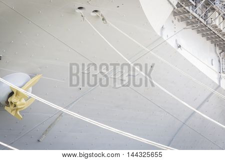 NEW YORK MAY 26 2016: Ground level view of details on the USS Bataan (LDH 5) an amphibious assault ship moored at Pier 88 for Fleet Week NY 2016.
