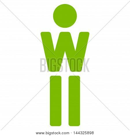 Girl icon. Glyph style is flat iconic symbol with rounded angles, eco green color, white background.