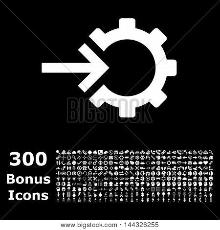 Cog Integration icon with 300 bonus icons. Vector illustration style is flat iconic symbols, white color, black background.