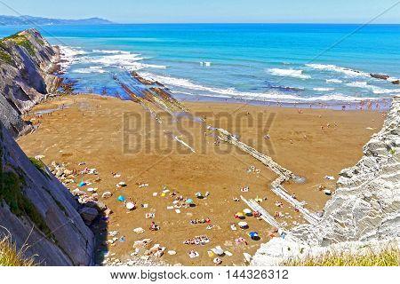 Beautiful view of Zumaia Beach, Gipuzkoa, Basque Country. SPAIN.
