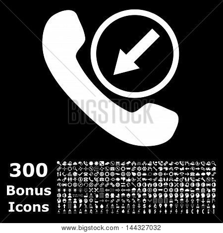 Incoming Call icon with 300 bonus icons. Vector illustration style is flat iconic symbols, white color, black background.