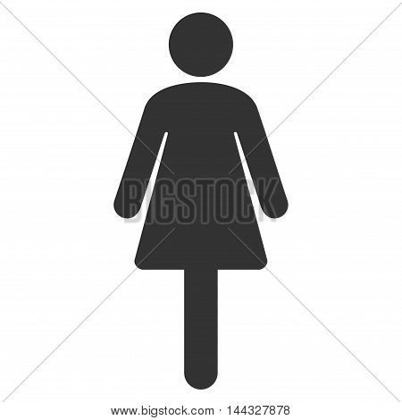 Female icon. Glyph style is flat iconic symbol with rounded angles, gray color, white background.