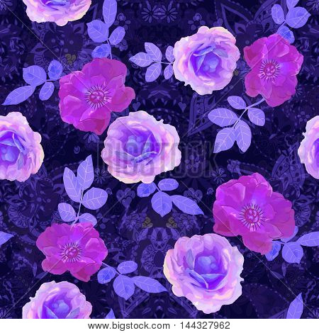 Vector illustration of floral seamless. Isolated hand drawn roses with leafs on dark blue line art background