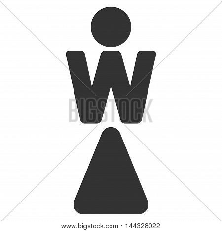 Lady icon. Glyph style is flat iconic symbol with rounded angles, gray color, white background.