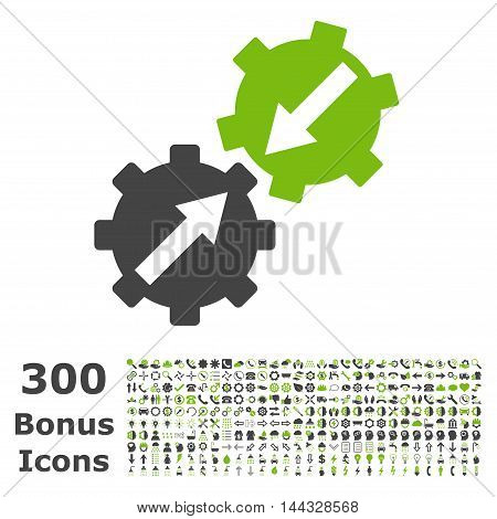 Gear Integration icon with 300 bonus icons. Vector illustration style is flat iconic bicolor symbols, eco green and gray colors, white background.