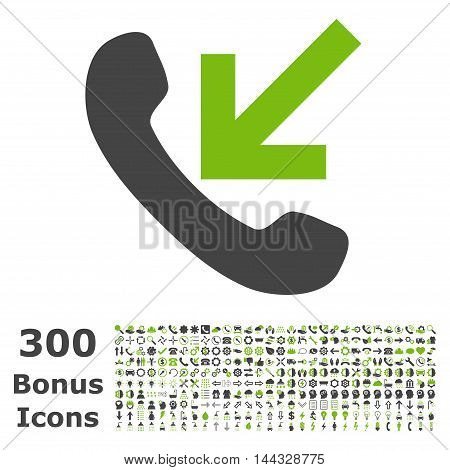 Incoming Call icon with 300 bonus icons. Vector illustration style is flat iconic bicolor symbols, eco green and gray colors, white background.